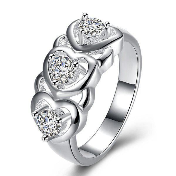 Rhinestone Engraved Heart RingJEWELRY<br><br>Size: 8; Color: SILVER; Gender: For Women; Metal Type: Others; Style: Noble and Elegant; Shape/Pattern: Heart; Weight: 0.0200kg; Package Contents: 1 x Ring;
