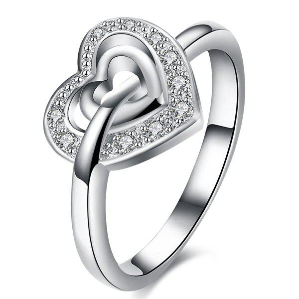 Rhinestone Double Heart RingJEWELRY<br><br>Size: 7; Color: SILVER; Gender: For Women; Metal Type: Others; Style: Noble and Elegant; Shape/Pattern: Heart; Weight: 0.0200kg; Package Contents: 1 x Ring;