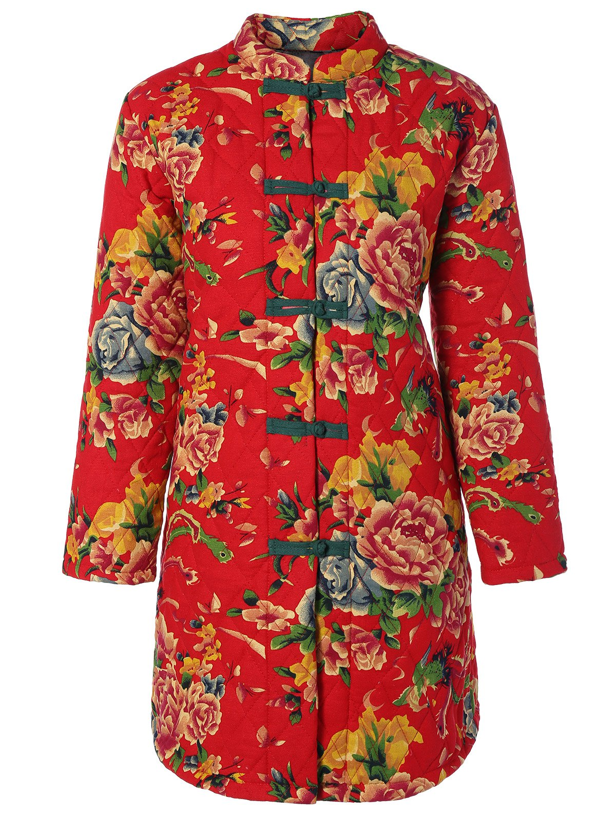 Online Chinese Style Floral Print Quilted Jacket