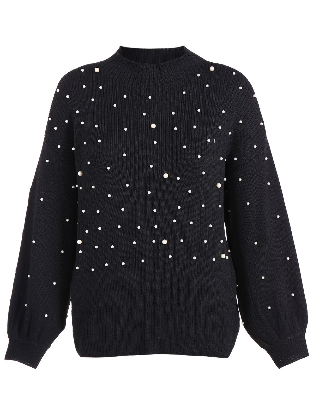 Sale Lantern Sleeve Beading Loose Sweater