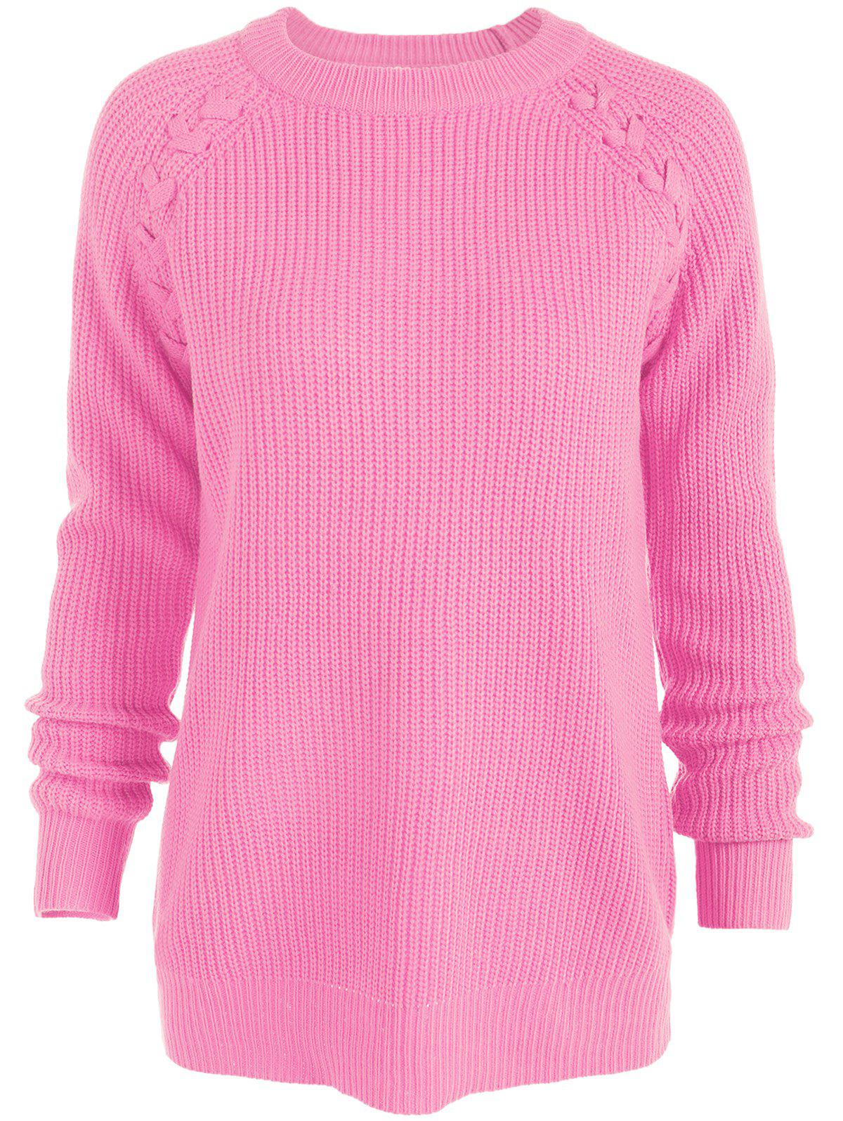 Raglan Sleeve Loose SweaterWOMEN<br><br>Size: 4XL; Color: LIGHT PINK; Type: Pullovers; Material: Acrylic,Polyester; Sleeve Length: Full; Collar: Round Neck; Style: Fashion; Season: Fall,Winter; Pattern Type: Solid; Weight: 0.320kg; Package Contents: 1 x Sweater;