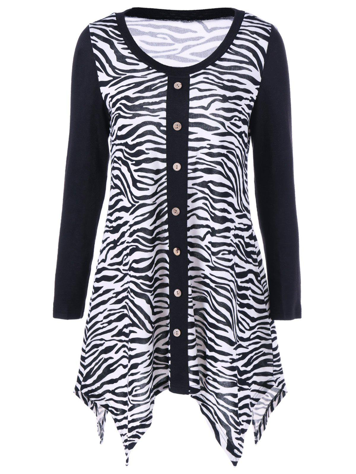 Latest Plus Size Zebra Print Single Breasted Tee