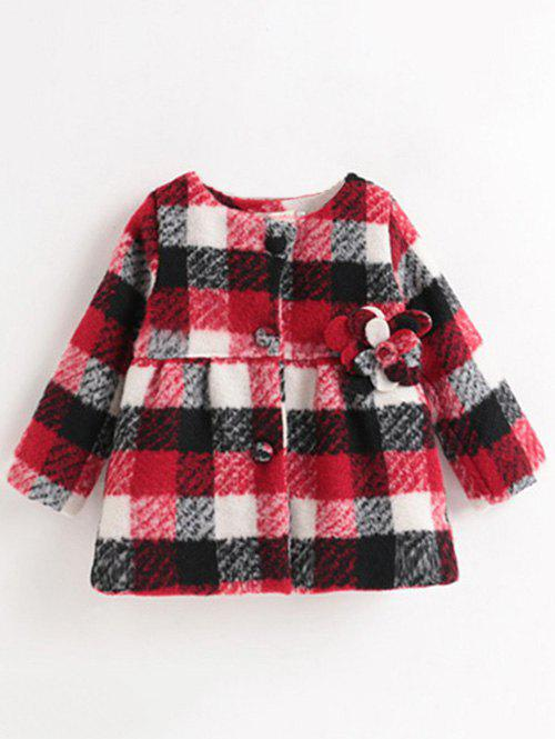 Affordable Buttoned Plaid Flower Woolen Coat
