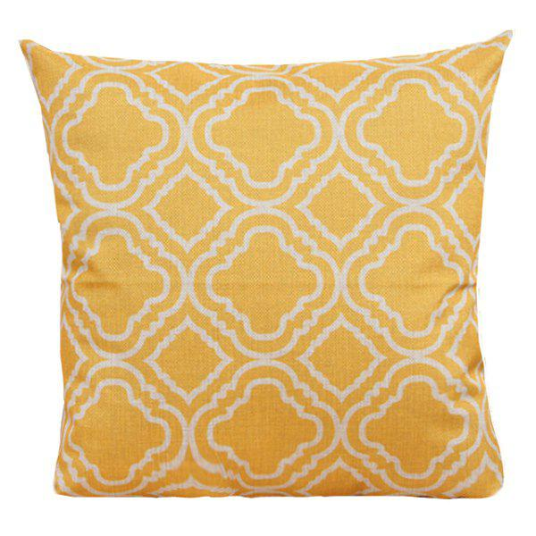 Geometry Pattern Sofa Cushion Linen Pillow CaseHOME<br><br>Color: YELLOW; Material: Linen; Pattern: Printed; Style: Modern/Contemporary; Shape: Square; Size(CM): 45*45; Weight: 0.110kg; Package Contents: 1 x Pillow Case;