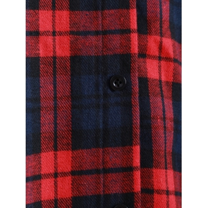 Plaid Button Up Panel Hoodie - RED 4XL