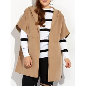 Hooded Open Front Wool Cape Coat - Khaki - 3xl