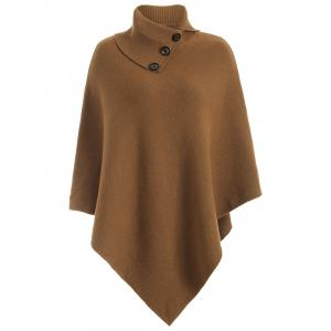Knitted Convertible Neck Asymmetric Cape - Camel - One Size