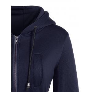 Long Drawstring High Low Zip Up Long Hoodie - PURPLISH BLUE L