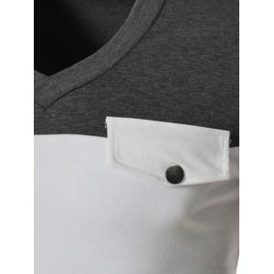 Modish V-Neck Two Color Splicing Fake Pocket Slimming Long Sleeve Polyester T-Shirt For Men - GRAY M
