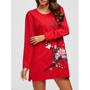 Flower Embroidery Long Sleeve Dress