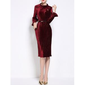 High Neck Velvet Pleated Dress With Brooch -
