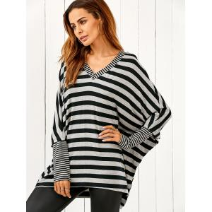 Dolman Sleeve Striped Tee - STRIPE L