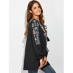 Tiny Floral Embroidery Peasant Blouse -