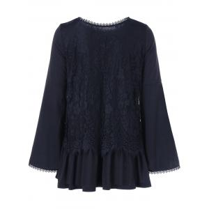 Bell Sleeve Lace Trim Loose Blouse - BLACK M