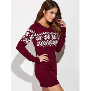 Raglan Sleeve Snowflake Dress - RED WITH WHITE XL