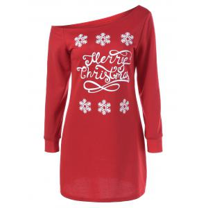 Skew Collar Snowflake Sweatshirt Dress