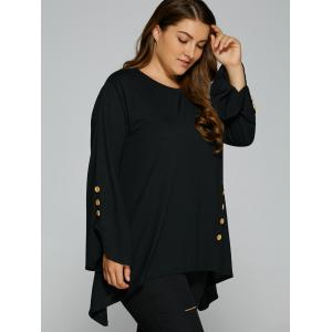 Plus Size Button Decorated Asymmetrical Tee - BLACK XL