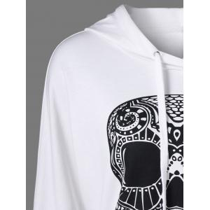 Skull Print Drop Shoulder Hoodie - WHITE M