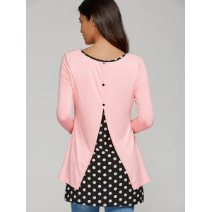 Back Button Polka Dot Spliced Blouse -