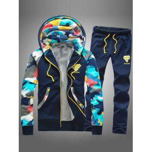 Camouflage Splicing Zip Up Flocking Hoodie and Pants Twinset