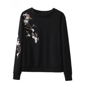 Crew Neck Bird Floral Embroidered Sweatshirt
