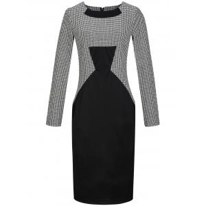 Houndstooth Print Long Sleeve Bodycon Dress
