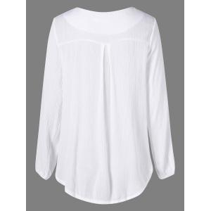 High Low Lace Up Blouse - WHITE XL