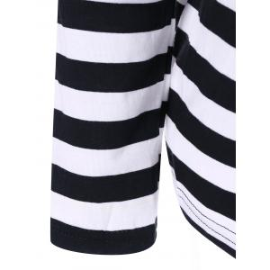 Striped Two Tone Tee - BLACK XL