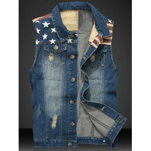 Star Print Stripe PU Leather Spliced Denim Waistcoat - Blue - M