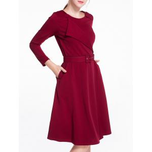 Long Sleeves Knee Length Flare Work Dress -