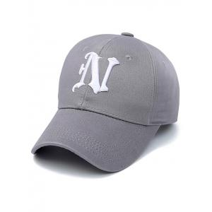 Embroidery Letter N Baseball Cap - Smoky Gray