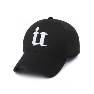 U Letter Embroidery Baseball Cap - Black