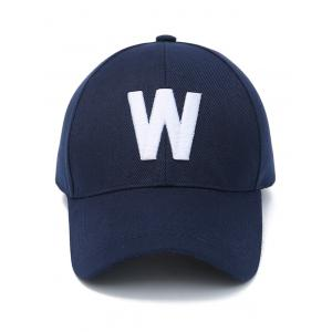 Embroidery W Letter Baseball Cap - PURPLISH BLUE