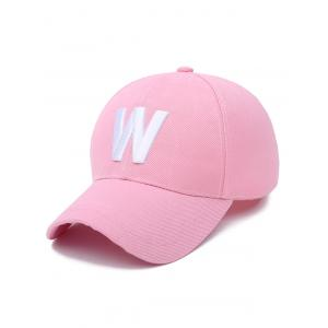 Embroidery W Letter Baseball Cap - Light Pink