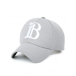 B Letter Embroidery Baseball Cap - Light Gray