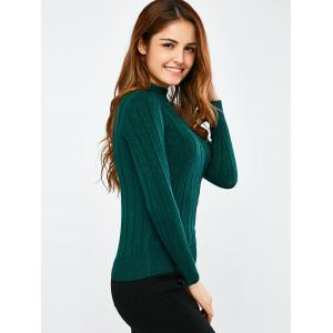 Mock Neck Ribbed Pullover Sweater -
