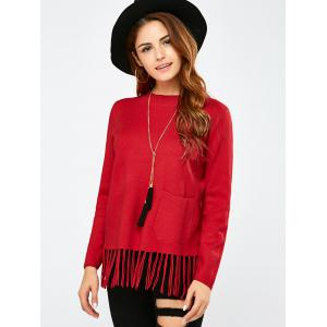 Crew Collar Fringe Pullover Sweater - RED ONE SIZE