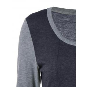 Square Neck Two Tone T-Shirt - BLACK/GREY XL
