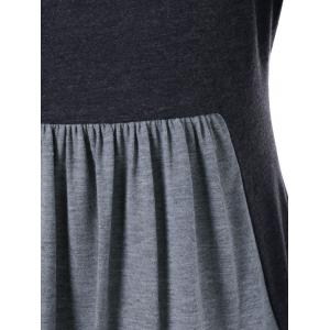 Square Neck Two Tone T-Shirt - BLACK AND GREY L