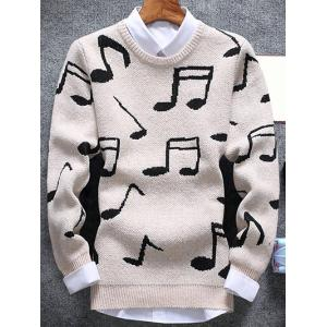 Music Note Pattern Crew Neck Sweater - Off-white - M