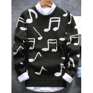 Music Note Pattern Crew Neck Sweater - Army Green - Xl