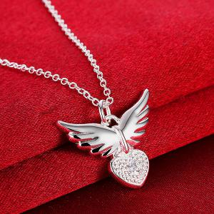 Heart Angel Wing Rhinestone Pendant Necklace -