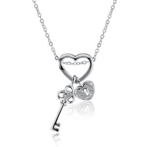 Heart Key Rhinestone Necklace