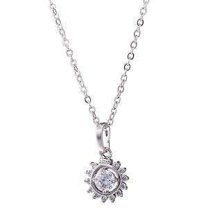 Sunflower Rhinestone Necklace Set - SILVER