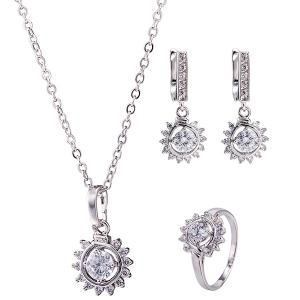 Sunflower Rhinestone Necklace Set