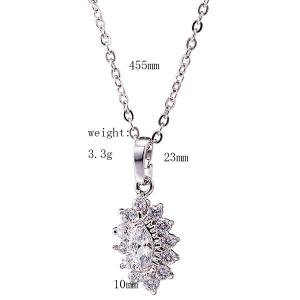 Rhinestone Lotus Necklace Set - SILVER