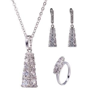 Rhinestone Geoemtric Necklace Set - Silver