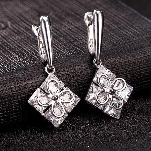 Rhinestone Square Clover Necklace Set -