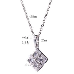 Rhinestone Square Clover Necklace Set - SILVER