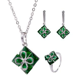 Polished Clover Square Necklace Set - Green - 2xl